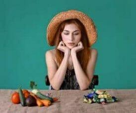 elección de dulces o verduras