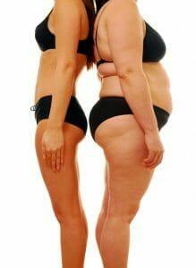 figura delgada vs. figura gruesa; pérdida de peso