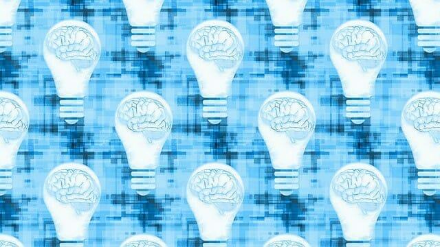 gráficos que muestran el cerebro en una bombilla