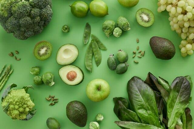 Frutas y verduras verdes
